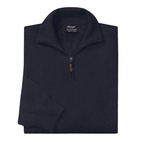 Johnstons of Elgin Cashmere Sweater - Leather Pull, ¼-Zip (For Men) in Ganja