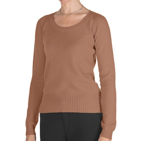 Johnstons of Elgin Cashmere Sweater - Round Neck (For Women) in Caramel