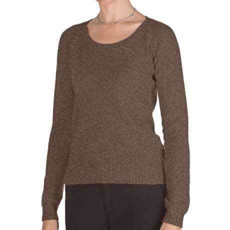 Johnstons of Elgin Cashmere Sweater - Round Neck (For Women) in Heath