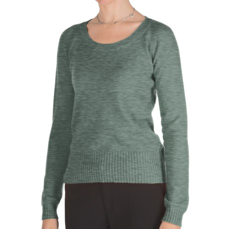 Johnstons of Elgin Cashmere Sweater - Round Neck (For Women) in Lichen