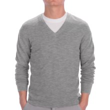 Johnstons of Elgin Cashmere Sweater - Slim Fit, V-Neck (For Men) in Grey Heather - Closeouts