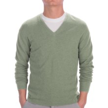 Johnstons of Elgin Cashmere Sweater - Slim Fit, V-Neck (For Men) in Lichen - Closeouts