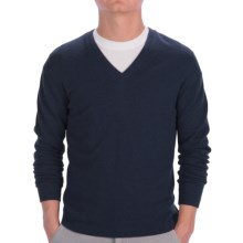 Johnstons of Elgin Cashmere Sweater - Slim Fit, V-Neck (For Men) in Midnight - Closeouts