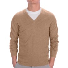Johnstons of Elgin Cashmere Sweater - Slim Fit, V-Neck (For Men) in Sand - Closeouts
