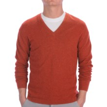 Johnstons of Elgin Cashmere Sweater - Slim Fit, V-Neck (For Men) in Spice - Closeouts