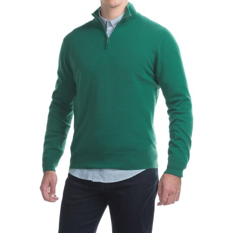 Johnstons of Elgin Cashmere Sweater - Zip Neck (For Men) in Baize