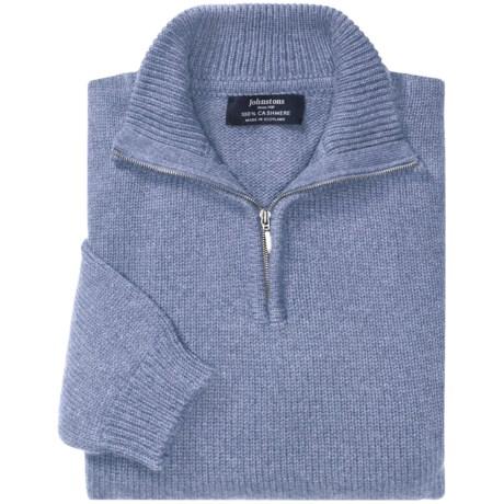 Johnstons of Elgin Cashmere Sweater - Zip Neck (For Men) in Harebell