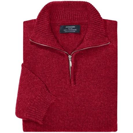 Johnstons of Elgin Cashmere Sweater - Zip Neck (For Men) in Henna