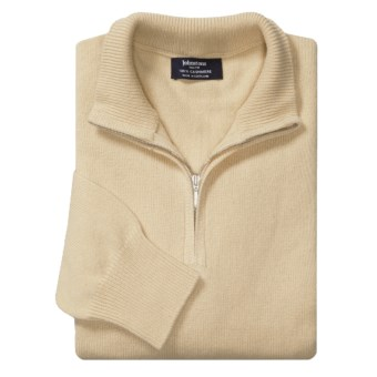Johnstons of Elgin Cashmere Sweater - Zip Neck (For Men in Ivory