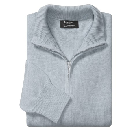 Johnstons of Elgin Cashmere Sweater - Zip Neck (For Men) in Ivory