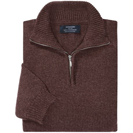 Johnstons of Elgin Cashmere Sweater - Zip Neck (For Men) in Ottor