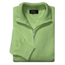 Johnstons of Elgin Cashmere Sweater - Zip Neck (For Men) in Peppermint - Closeouts