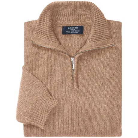 Johnstons of Elgin Cashmere Sweater - Zip Neck (For Men) in Sand