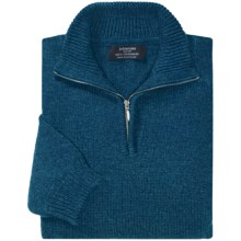 Johnstons of Elgin Cashmere Sweater - Zip Neck (For Men) in Sapphire - Closeouts