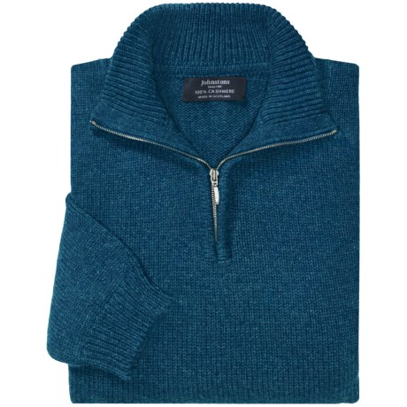 Johnstons of Elgin Cashmere Sweater - Zip Neck (For Men) in Sapphire