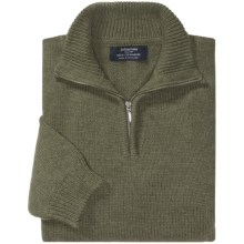 Johnstons of Elgin Cashmere Sweater - Zip Neck (For Men) in Thyme - Closeouts