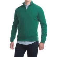 Johnstons of Elgin Cashmere Sweater - Zip Neck, Leather Pull (For Men) in Baize - Closeouts