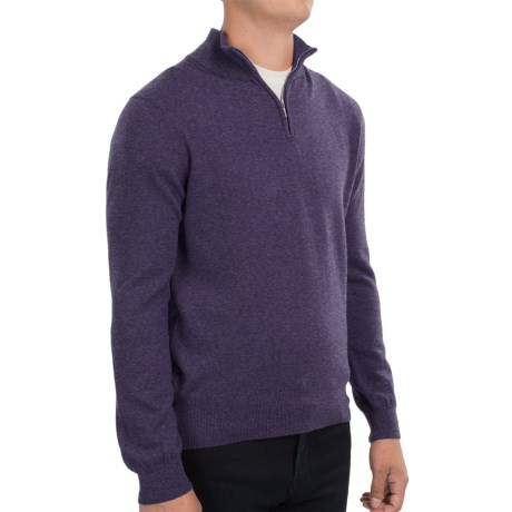 Johnstons of Elgin Cashmere Sweater - Zip Neck, Leather Pull (For Men) in Blueberry