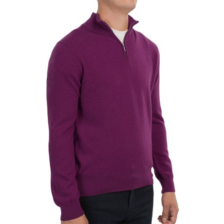 Johnstons of Elgin Cashmere Sweater - Zip Neck, Leather Pull (For Men) in Bordeaux
