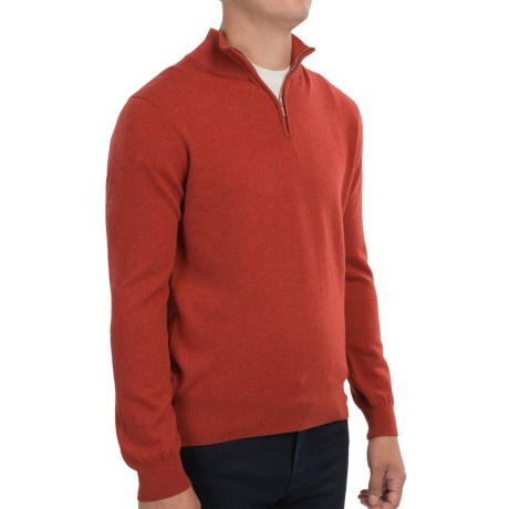 Johnstons of Elgin Cashmere Sweater - Zip Neck, Leather Pull (For Men) in Bracken