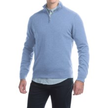 Johnstons of Elgin Cashmere Sweater - Zip Neck, Leather Pull (For Men) in Fresco - Closeouts