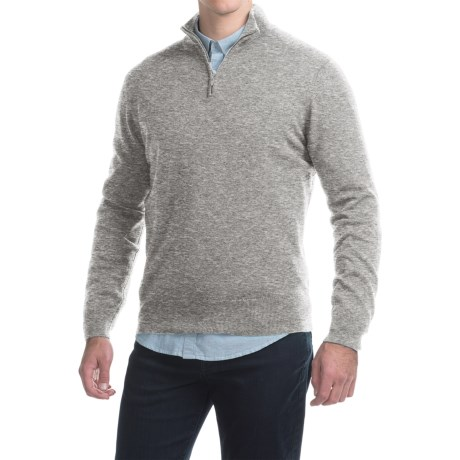 Johnstons of Elgin Cashmere Sweater - Zip Neck, Leather Pull (For Men) in Light Grey