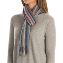 Johnstons of Elgin Cashmere Wrap Scarf (For Men and Women) in Blue Multi - Closeouts