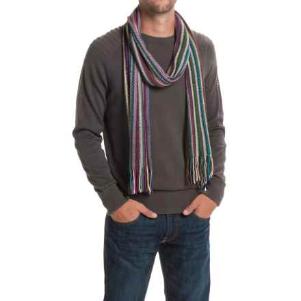 Johnstons of Elgin Cashmere Wrap Scarf (For Men and Women) in Brown Multi - Closeouts