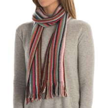 Johnstons of Elgin Cashmere Wrap Scarf (For Men and Women) in Pastel Multi - Closeouts