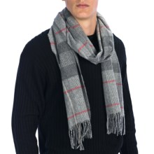Johnstons of Elgin Centered Check Scarf - Cashmere-Merino Wool (For Men and Women) in Grey/Rose - Closeouts