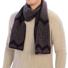 Johnstons of Elgin Chevron Cashmere Scarf (For Men) in Plum/Heather - Closeouts