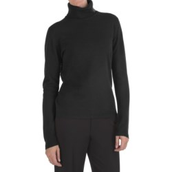 Johnstons of Elgin Classic Cashmere Turtleneck Sweater - 21-Gauge  (For Women) in Nero Navy
