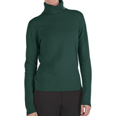 Johnstons of Elgin Classic Cashmere Turtleneck Sweater - 21-Gauge  (For Women) in Emerald