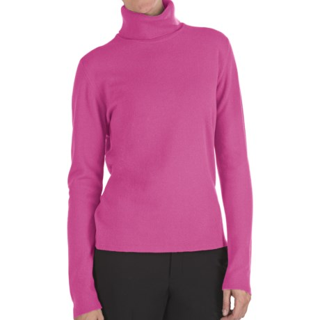 Johnstons of Elgin Classic Cashmere Turtleneck Sweater - 21-Gauge  (For Women) in Old Rose
