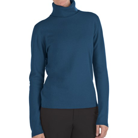 Johnstons of Elgin Classic Cashmere Turtleneck Sweater - 21-Gauge  (For Women) in Sapphire