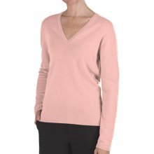 Johnstons of Elgin Classic Cashmere V-Neck Sweater - 21-Gauge (For Women) in He1073 Rose Pink - Closeouts