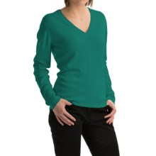 Johnstons of Elgin Classic Cashmere V-Neck Sweater (For Women) in Baize - Closeouts