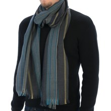 Johnstons of Elgin Dark Stripe Scarf - Merino Wool (For Men and Women) in Charcoal/Yellow/Blue - Closeouts