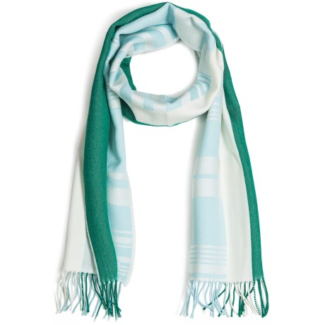 Johnstons of Elgin Diagonal Multi-Pattern Scarf - Woven Merino Wool (For Men and Women) in Green/Mint/Natural