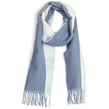 Johnstons of Elgin Diagonal Multi-Pattern Scarf - Woven Merino Wool (For Men and Women) in Grey Blue/Periwinkle/Natural - Closeouts