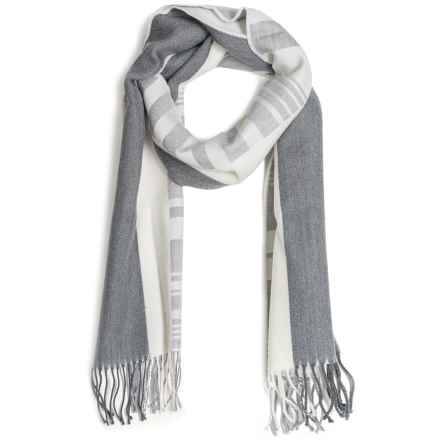 Johnstons of Elgin Diagonal Multi-Pattern Scarf - Woven Merino Wool (For Men and Women) in Grey/Natural - Closeouts