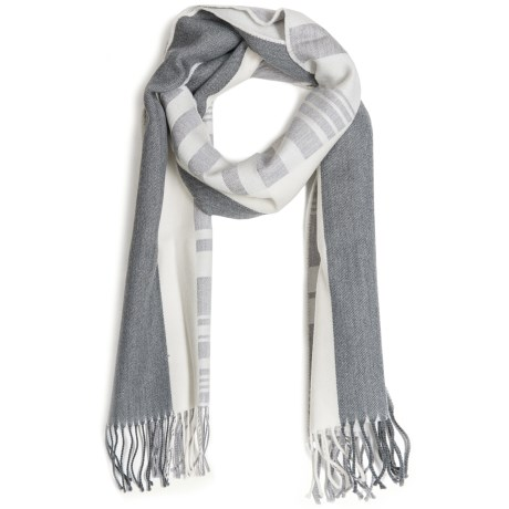 Johnstons of Elgin Diagonal Multi-Pattern Scarf - Woven Merino Wool (For Men and Women) in Grey/Natural