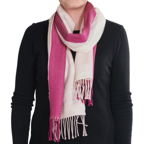 Johnstons of Elgin Diagonal Multi-Pattern Scarf - Woven Merino Wool (For Men and Women) in Pink/Cream