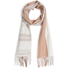 Johnstons of Elgin Diagonal Multi-Pattern Scarf - Woven Merino Wool (For Men and Women) in Tan/Natural - Closeouts