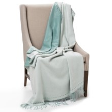 Johnstons of Elgin Dot Border Throw Blanket - Cashmere in Duck Egg/ White - Closeouts