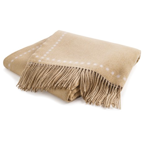 Johnstons of Elgin Dot Border Throw Blanket - Cashmere in Oatmeal/Cream