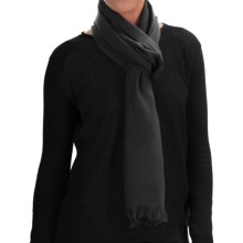 Johnstons of Elgin Extra-Fine Merino Wool Scarf (For Women) in Black - Closeouts
