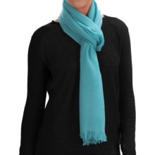 Johnstons of Elgin Extra-Fine Merino Wool Scarf (For Women) in Bright Turquoise - Closeouts
