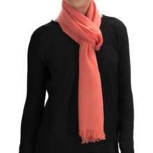 Johnstons of Elgin Extra-Fine Merino Wool Scarf (For Women) in Coral - Closeouts