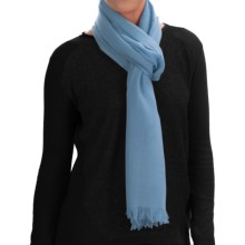 Johnstons of Elgin Extra-Fine Merino Wool Scarf (For Women) in Light Blue - Closeouts